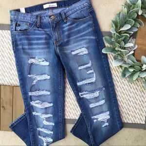 KanCan Distressed Mid Rise Boyfriend Fit Jeans